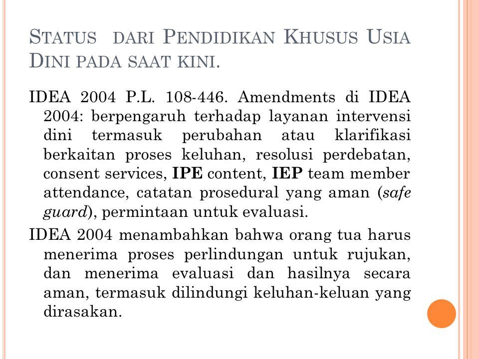 S TATUS DARI P ENDIDIKAN K HUSUS U SIA D INI PADA SAAT KINI. IDEA 2004 P.L. 108-446. Amendments di IDEA 2004: berpengaruh terhadap layanan intervensi