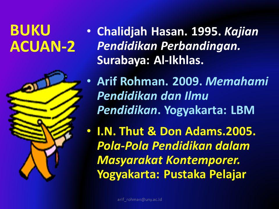 BUKU ACUAN-2 Chalidjah Hasan. 1995. Kajian Pendidikan Perbandingan. Surabaya: Al-Ikhlas. Arif Rohman. 2009. Memahami Pendidikan dan Ilmu Pendidikan. Y
