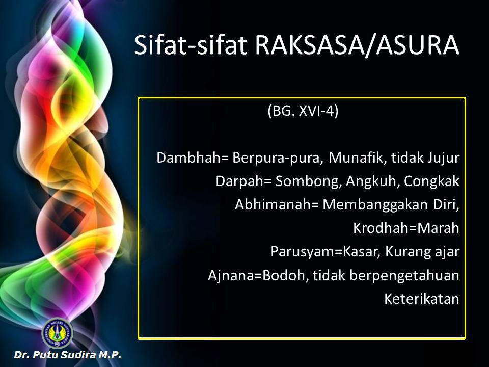 Sifat-sifat RAKSASA/ASURA (BG.