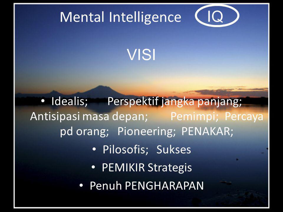 Mental Intelligence IQ VISI Idealis; Perspektif jangka panjang; Antisipasi masa depan; Pemimpi; Percaya pd orang; Pioneering; PENAKAR; Pilosofis; Sukses PEMIKIR Strategis Penuh PENGHARAPAN
