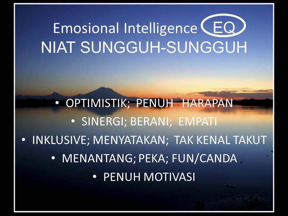 Emosional Intelligence EQ NIAT SUNGGUH-SUNGGUH OPTIMISTIK; PENUH HARAPAN SINERGI; BERANI; EMPATI INKLUSIVE; MENYATAKAN; TAK KENAL TAKUT MENANTANG; PEKA; FUN/CANDA PENUH MOTIVASI