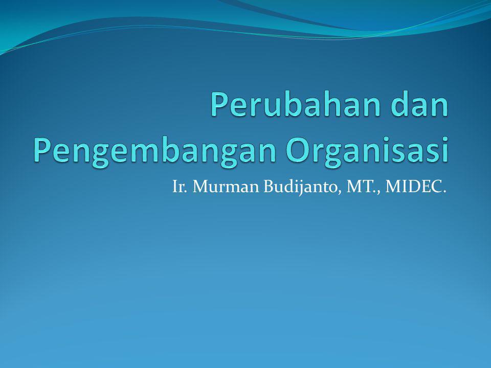 Pengembangan Organisasi (OD) (1) Serangkaian intervensi perubahan terencana berdasarkan nilai-nilai humanistik dan demokratik untuk memperbaiki efektifitas organisasi dan kesejahteraan karyawan.