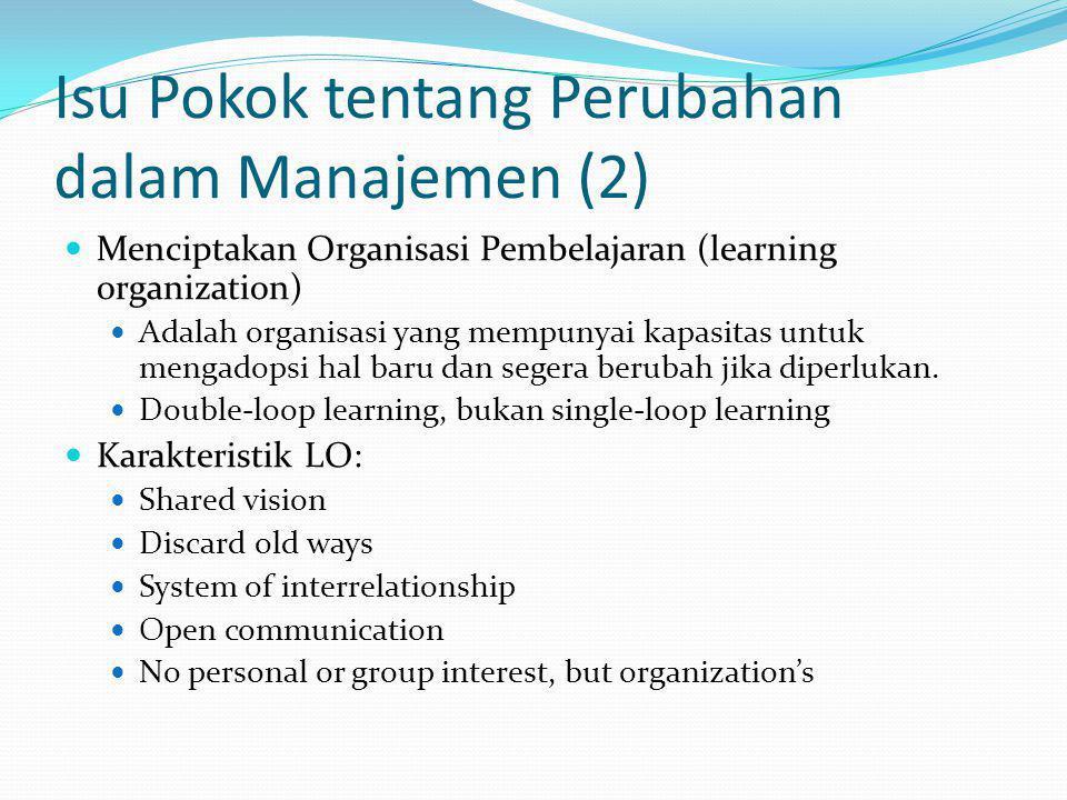 Isu Pokok tentang Perubahan dalam Manajemen (2) Menciptakan Organisasi Pembelajaran (learning organization) Adalah organisasi yang mempunyai kapasitas