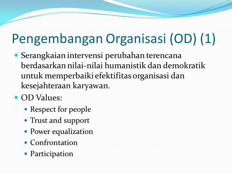 Pengembangan Organisasi (OD) (1) Serangkaian intervensi perubahan terencana berdasarkan nilai-nilai humanistik dan demokratik untuk memperbaiki efekti
