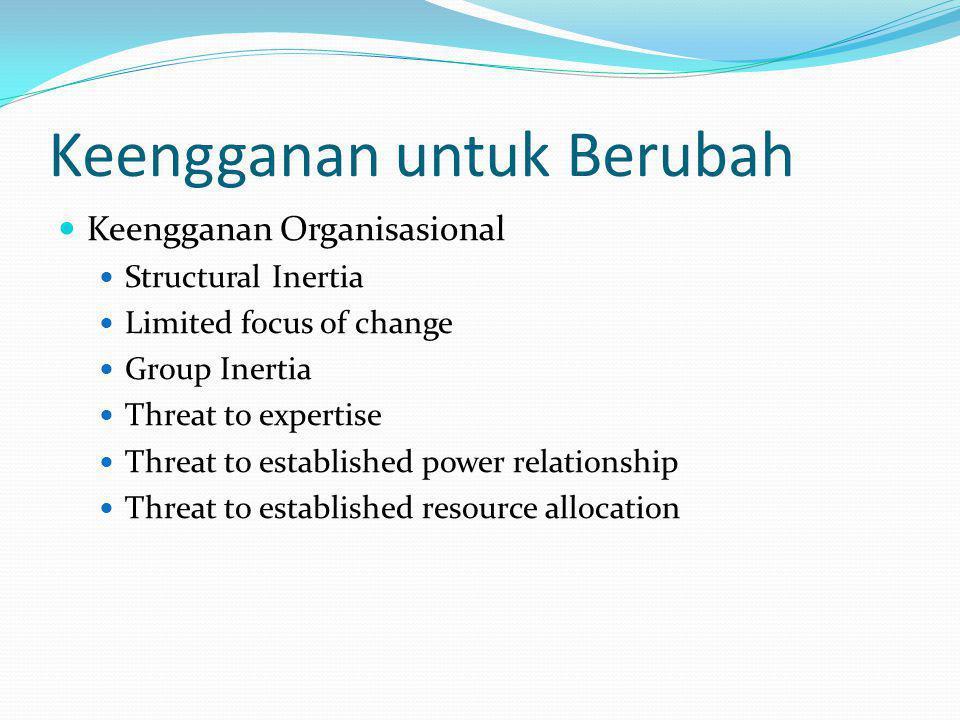 Mengatasi Keengganan Education and Communication Participation Facilitation and Support Negotiation Manipulation and Cooptation Coercion Politics of Change