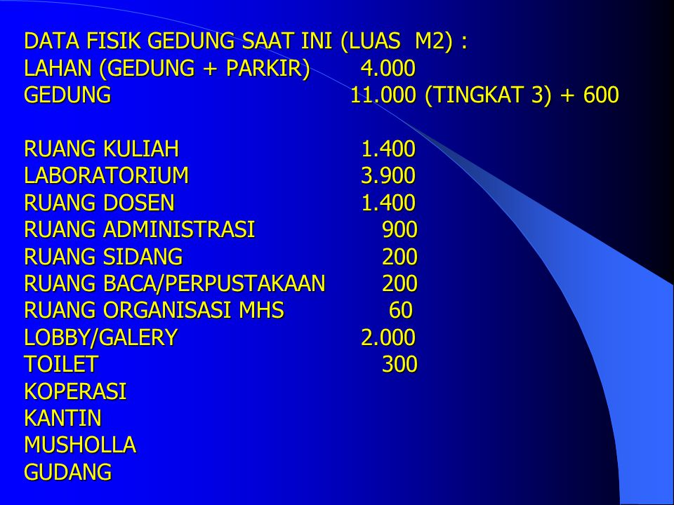 FASILITAS RUANG KULIAH (SETELAH DIRENOVASI PROYEK QUE) NONAMA RUANGANACFASILITASKETERANGAN 1RK 31ACSS, LAYAR, LCD, KOMPUTER300 KURSI 2RK 32ACSS, LAYAR