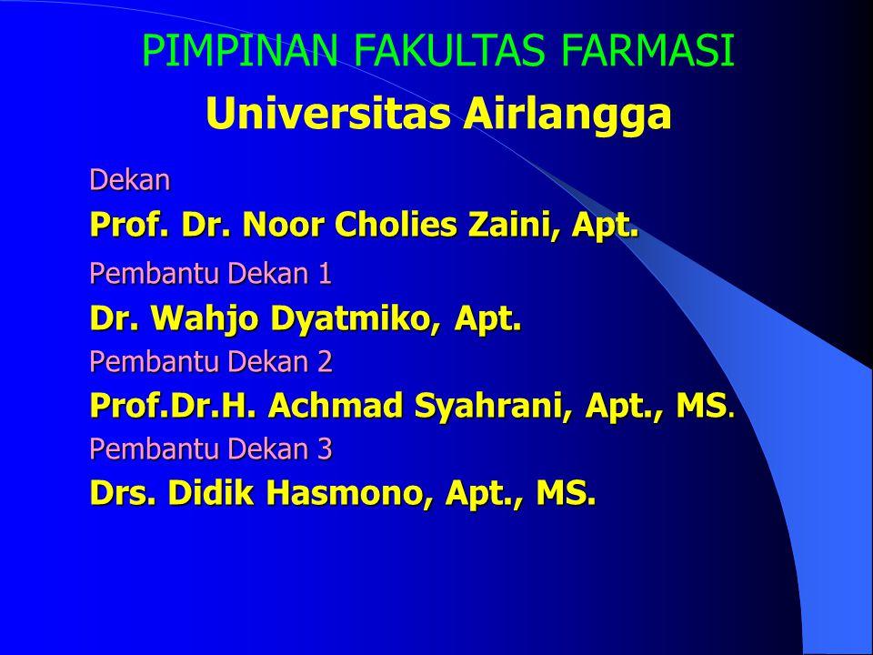 Fakultas Farmasi Universitas Airlangga Terakreditasi : Peringkat A, SK BAN PT tanggal 15 Oktober 2004, SK BAN PT tanggal 15 Oktober 2004, No. 043/BAN-