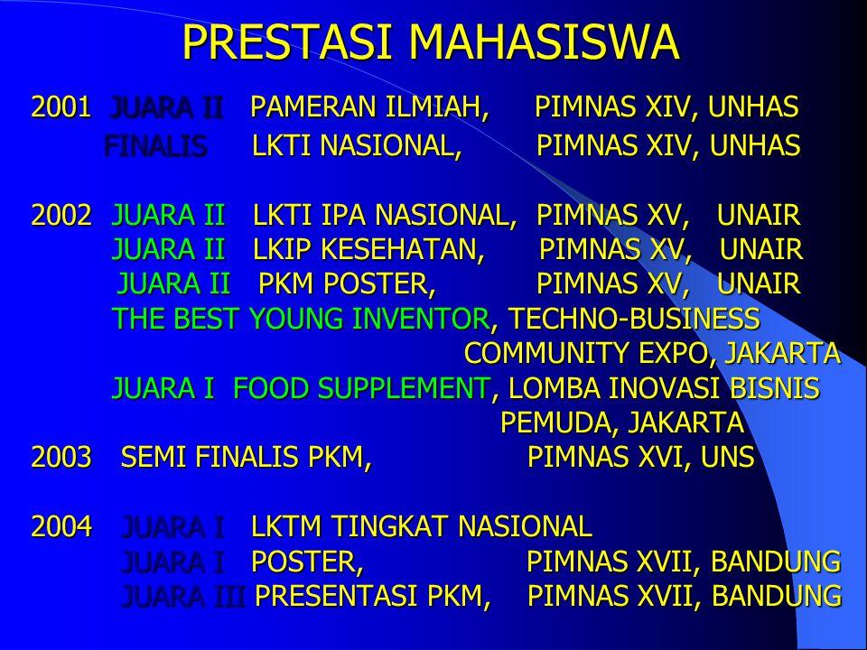 PRESTASI MAHASISWA AKTIF IPK TERBAIK AKHIR SEM GENAP 2003/2004 SPMB 2001 WENNY PUTRI 3,84 2002 AGUSTINA 3,93 2003 MARIO SENTOSA 3,85 PMDK 2001 MEGAWAT