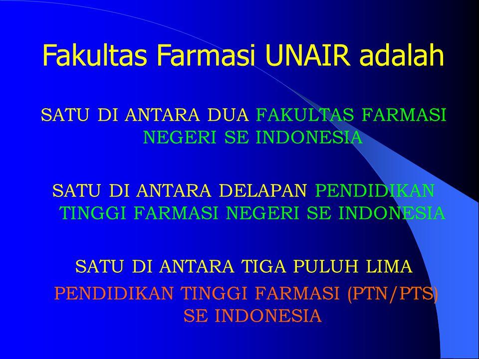 Fakultas Farmasi UNAIR adalah SATU DI ANTARA DUA FAKULTAS FARMASI NEGERI SE INDONESIA SATU DI ANTARA DELAPAN PENDIDIKAN TINGGI FARMASI NEGERI SE INDONESIA SATU DI ANTARA TIGA PULUH LIMA PENDIDIKAN TINGGI FARMASI (PTN/PTS) SE INDONESIA