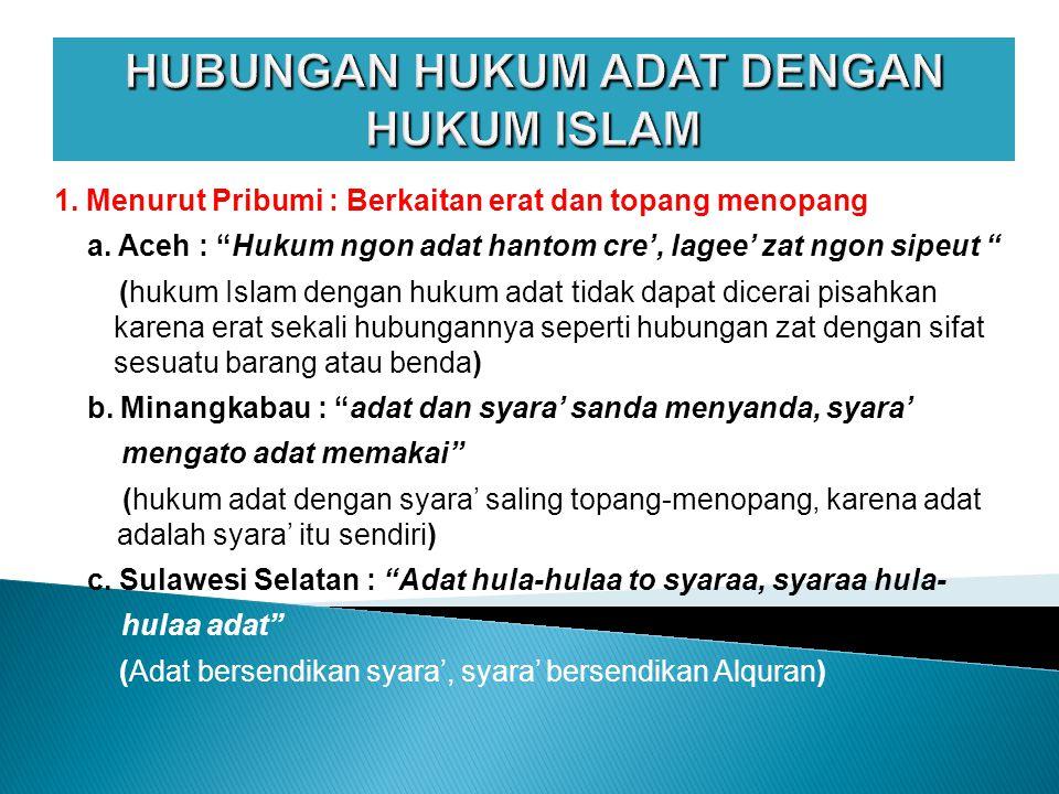 HUBUNGAN HUKUM ADAT DENGAN HUKUM ISLAM 1.Menurut Pribumi : Berkaitan erat dan topang menopang a.