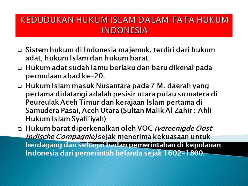KEDUDUKAN HUKUM ISLAM DALAM TATA HUKUM INDONESIA  Sistem hukum di Indonesia majemuk, terdiri dari hukum adat, hukum Islam dan hukum barat.