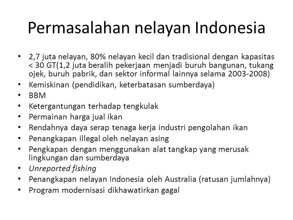 Permasalahan nelayan Indonesia 2,7 juta nelayan, 80% nelayan kecil dan tradisional dengan kapasitas < 30 GT(1,2 juta beralih pekerjaan menjadi buruh bangunan, tukang ojek, buruh pabrik, dan sektor informal lainnya selama 2003-2008) Kemiskinan (pendidikan, keterbatasan sumberdaya) BBM Ketergantungan terhadap tengkulak Permainan harga jual ikan Rendahnya daya serap tenaga kerja industri pengolahan ikan Penangkapan illegal oleh nelayan asing Pengkapan dengan menggunakan alat tangkap yang merusak lingkungan dan sumberdaya Unreported fishing Penangkapan nelayan Indonesia oleh Australia (ratusan jumlahnya) Program modernisasi dikhawatirkan gagal