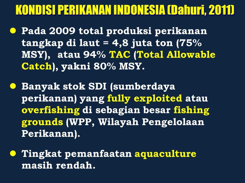 KONDISI PERIKANAN INDONESIA (Dahuri, 2011) Pada 2009 total produksi perikanan tangkap di laut = 4,8 juta ton (75% MSY), atau 94% TAC (Total Allowable