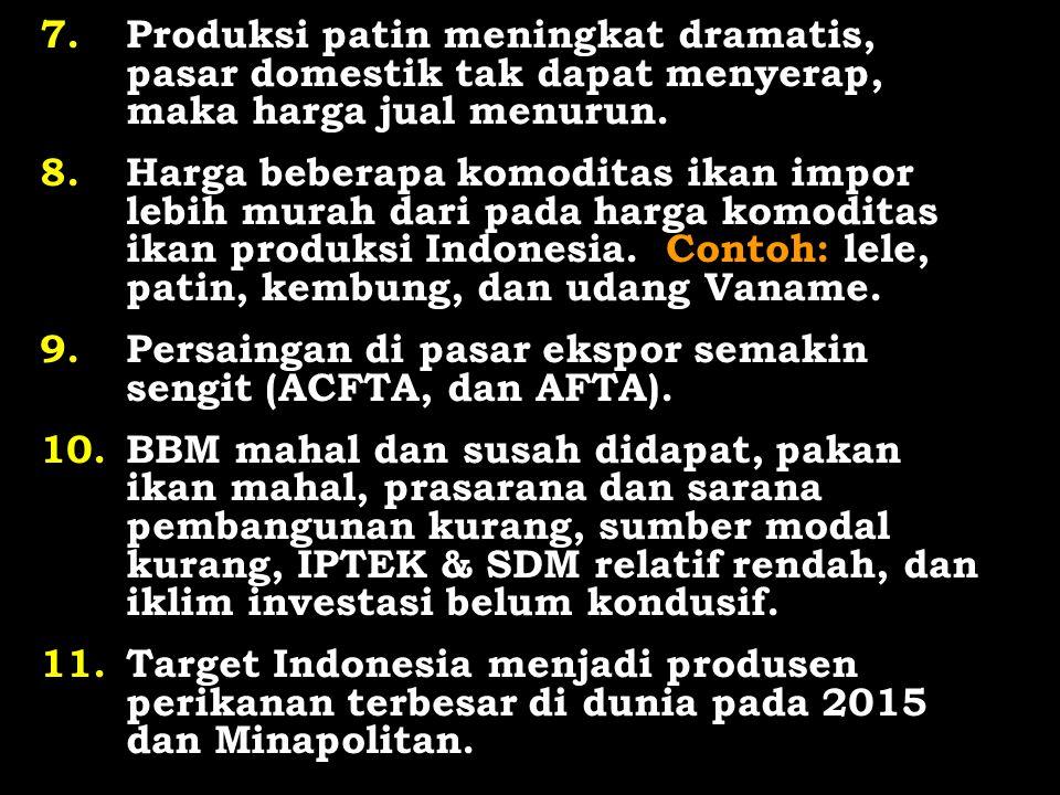 7.Produksi patin meningkat dramatis, pasar domestik tak dapat menyerap, maka harga jual menurun. 8.Harga beberapa komoditas ikan impor lebih murah dar