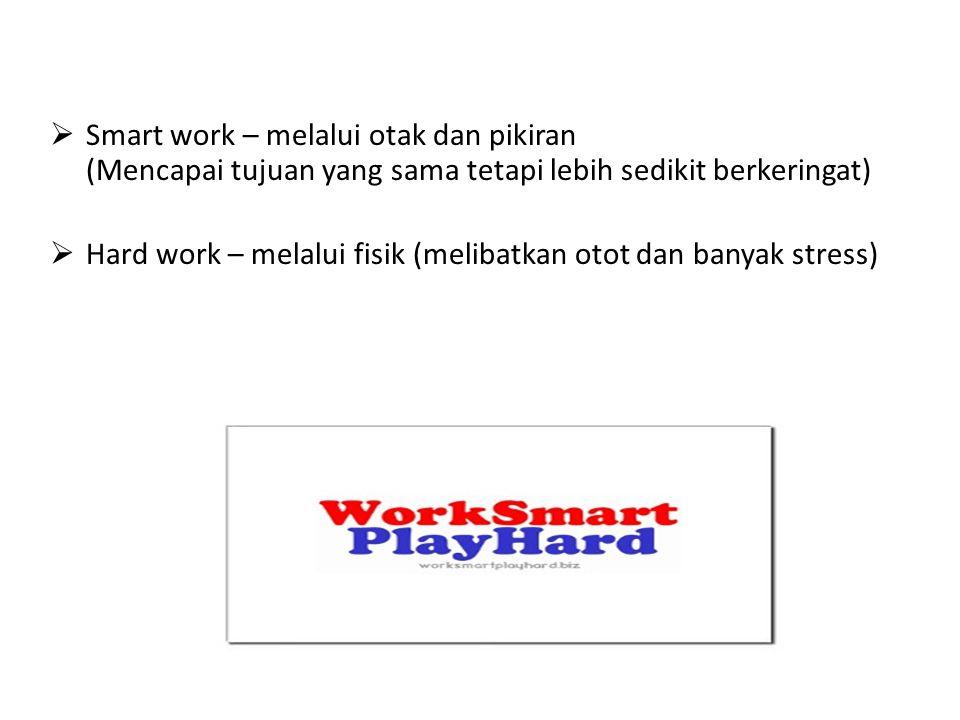  Smart work – melalui otak dan pikiran (Mencapai tujuan yang sama tetapi lebih sedikit berkeringat)  Hard work – melalui fisik (melibatkan otot dan banyak stress)