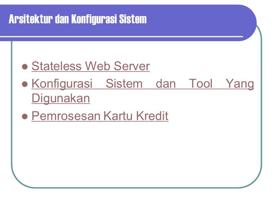 Arsitektur dan Konfigurasi Sistem Stateless Web Server Konfigurasi Sistem dan Tool Yang Digunakan Pemrosesan Kartu Kredit