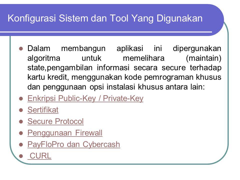 Konfigurasi Sistem dan Tool Yang Digunakan Dalam membangun aplikasi ini dipergunakan algoritma untuk memelihara (maintain) state,pengambilan informasi