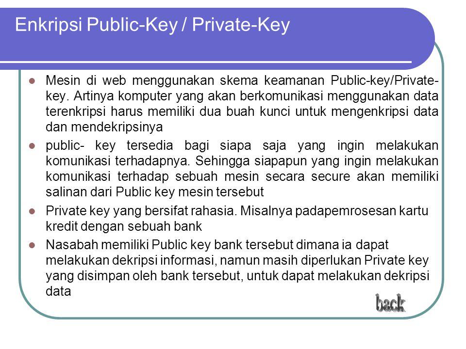 Enkripsi Public-Key / Private-Key Mesin di web menggunakan skema keamanan Public-key/Private- key. Artinya komputer yang akan berkomunikasi menggunaka