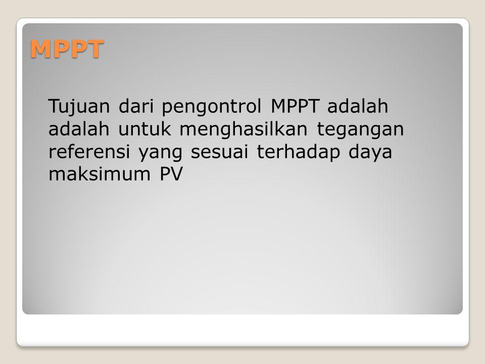 MPPT Tujuan dari pengontrol MPPT adalah adalah untuk menghasilkan tegangan referensi yang sesuai terhadap daya maksimum PV