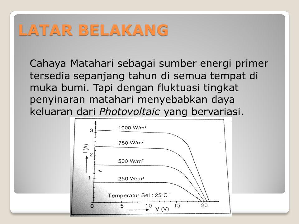LATAR BELAKANG Cahaya Matahari sebagai sumber energi primer tersedia sepanjang tahun di semua tempat di muka bumi. Tapi dengan fluktuasi tingkat penyi