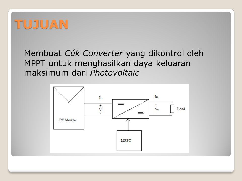 TUJUAN Membuat Cúk Converter yang dikontrol oleh MPPT untuk menghasilkan daya keluaran maksimum dari Photovoltaic