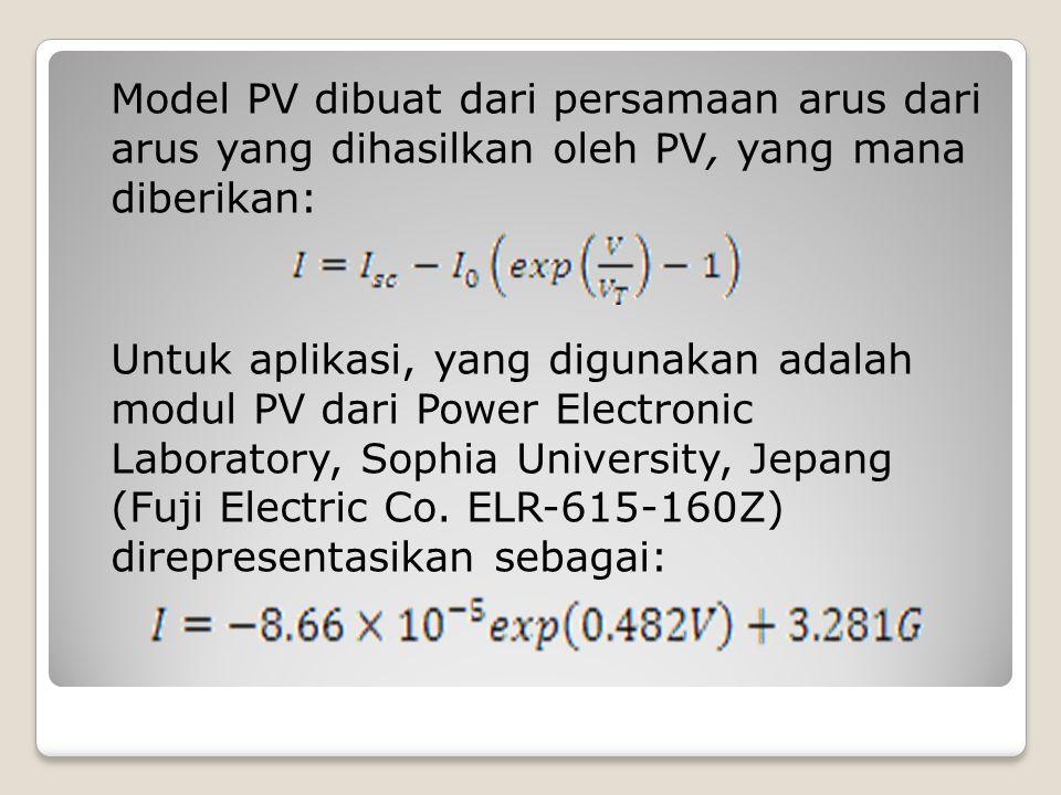 Model PV dibuat dari persamaan arus dari arus yang dihasilkan oleh PV, yang mana diberikan: Untuk aplikasi, yang digunakan adalah modul PV dari Power