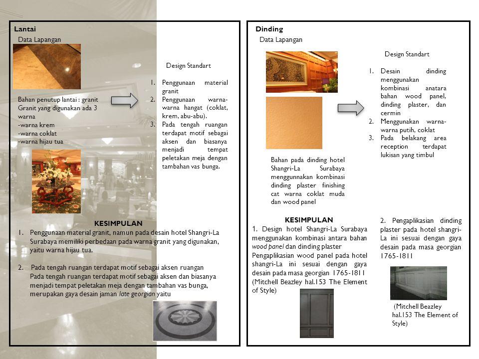 Lantai Data Lapangan Bahan penutup lantai : granit Granit yang digunakan ada 3 warna -warna krem -warna coklat -warna hijau tua Design Standart 1.Peng
