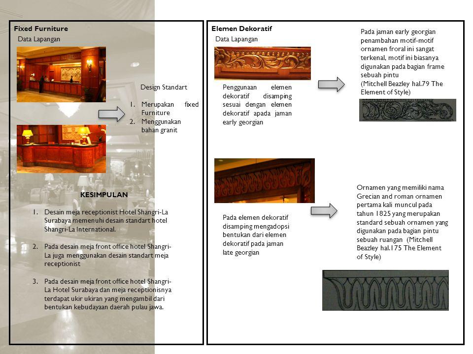 Fixed Furniture KESIMPULAN 1.Desain meja receptionist Hotel Shangri-La Surabaya memenuhi desain standart hotel Shangri-La International. 2.Pada desain