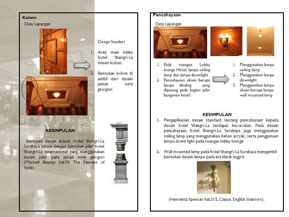 Kolom KESIMPULAN Bentukan desain kolom Hotel Shangri-La Surabaya sesuai dengan bentukan pilar hotel Shangri-La international yang menggunakan desain p