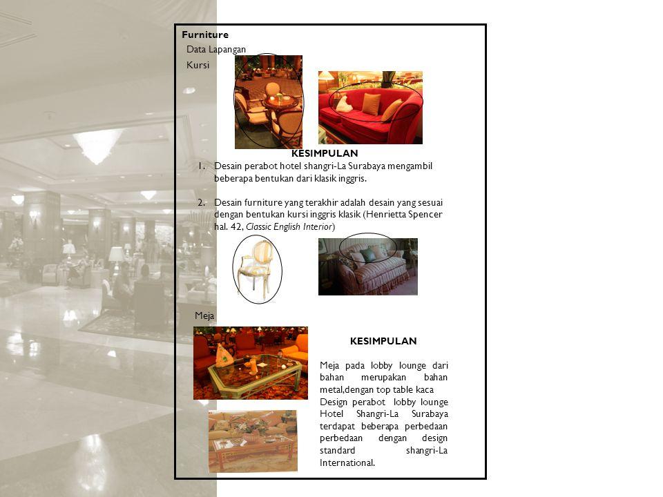 Furniture Data Lapangan Kursi KESIMPULAN 1.Desain perabot hotel shangri-La Surabaya mengambil beberapa bentukan dari klasik inggris. 2.Desain furnitur