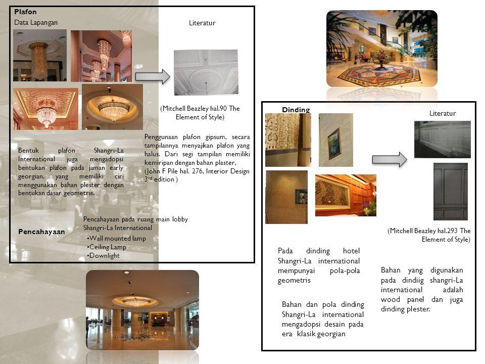 Dinding Bahan yang digunakan pada dindiig shangri-La international adalah wood panel dan juga dinding plester. (Mitchell Beazley hal.293 The Element o