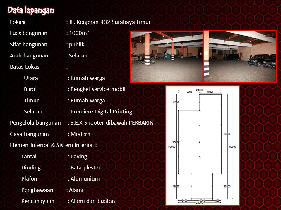 Lokasi: JL. Kenjeran 432 Surabaya Timur Luas bangunan : 1000m 2 Sifat bangunan: publik Arah bangunan: Selatan Batas Lokasi : Utara : Rumah warga Barat