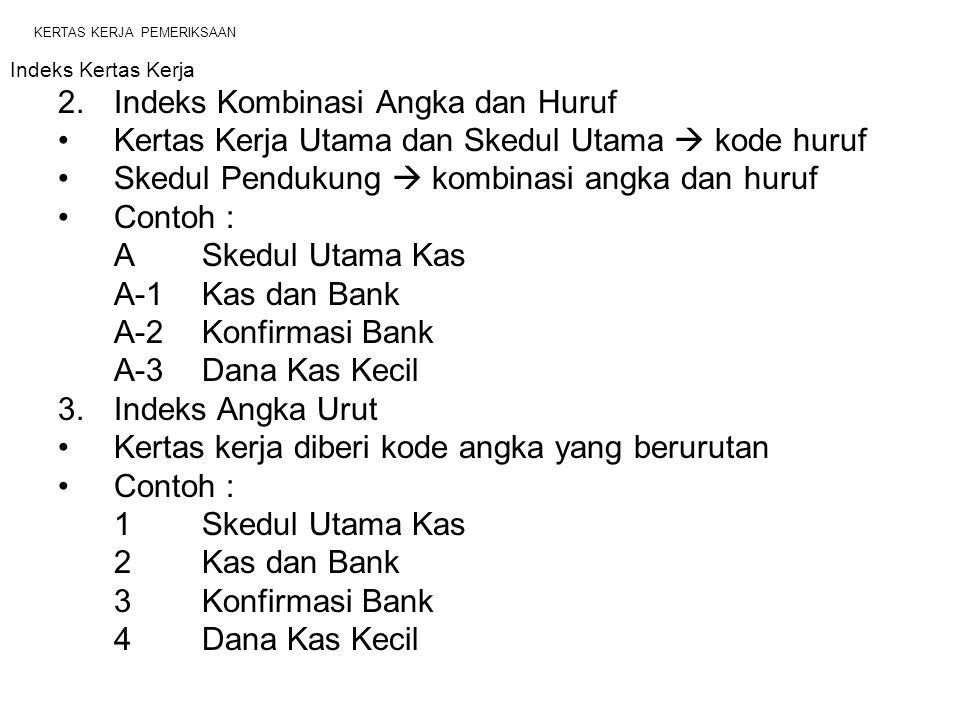 KERTAS KERJA PEMERIKSAAN Indeks Kertas Kerja 2.Indeks Kombinasi Angka dan Huruf Kertas Kerja Utama dan Skedul Utama  kode huruf Skedul Pendukung  kombinasi angka dan huruf Contoh : ASkedul Utama Kas A-1Kas dan Bank A-2Konfirmasi Bank A-3Dana Kas Kecil 3.Indeks Angka Urut Kertas kerja diberi kode angka yang berurutan Contoh : 1Skedul Utama Kas 2Kas dan Bank 3Konfirmasi Bank 4Dana Kas Kecil