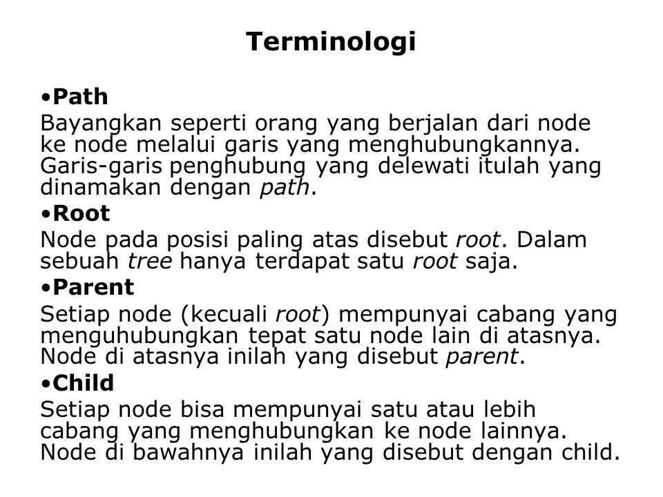 Terminologi Path Bayangkan seperti orang yang berjalan dari node ke node melalui garis yang menghubungkannya.