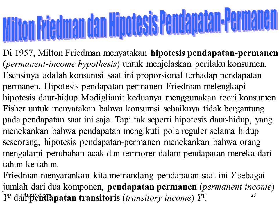 Chapter Sixteen18 Di 1957, Milton Friedman menyatakan hipotesis pendapatan-permanen (permanent-income hypothesis) untuk menjelaskan perilaku konsumen.