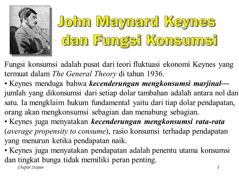 Chapter Sixteen2 Fungsi konsumsi adalah pusat dari teori fluktuasi ekonomi Keynes yang termuat dalam The General Theory di tahun 1936.