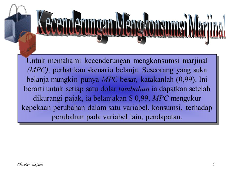 Chapter Sixteen5 Untuk memahami kecenderungan mengkonsumsi marjinal (MPC), perhatikan skenario belanja.