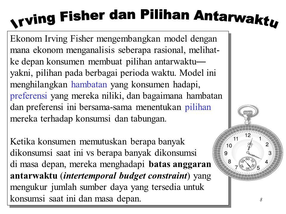 Chapter Sixteen8 Ekonom Irving Fisher mengembangkan model dengan mana ekonom menganalisis seberapa rasional, melihat- ke depan konsumen membuat pilihan antarwaktu — yakni, pilihan pada berbagai perioda waktu.