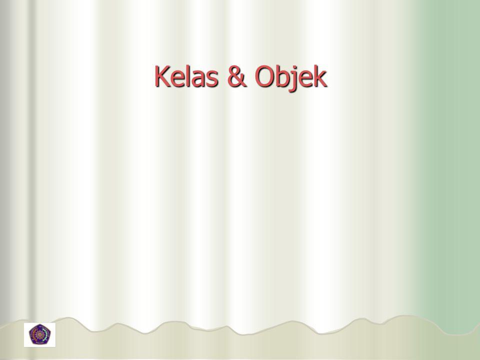 Contoh Penggunaan (4) class DemoReferensi2 { public static void main(String[] args) { public static void main(String[] args) { double volume1, volume2; double volume1, volume2; Kotak k1, k2; Kotak k1, k2; k1 = new Kotak(); k1 = new Kotak(); k2 = k1; k2 = k1; k1.panjang = 4; k1.panjang = 4; k1.lebar = 3; k1.lebar = 3; k1.tinggi = 2; k1.tinggi = 2; // Sebelum nilai k1 diubah // Sebelum nilai k1 diubah volume1 = k1.panjang * k1.tinggi * k1.lebar; volume1 = k1.panjang * k1.tinggi * k1.lebar; volume2 = k2.panjang * k2.tinggi * k2.lebar; volume2 = k2.panjang * k2.tinggi * k2.lebar; System.out.println( Sebelum k1 diubah: ); System.out.println( Sebelum k1 diubah: ); System.out.println( Volume k1 = + volume1); System.out.println( Volume k1 = + volume1); System.out.println( Volume k2 = + volume2); System.out.println( Volume k2 = + volume2); k1 = new Kotak(); k1 = new Kotak(); k1.panjang = 6; k1.panjang = 6; k1.lebar = 5; k1.lebar = 5; k1.tinggi = 4; k1.tinggi = 4; // Setelah nilai k1 diubah // Setelah nilai k1 diubah volume1 = k1.panjang * k1.tinggi * k1.lebar; volume1 = k1.panjang * k1.tinggi * k1.lebar; volume2 = k2.panjang * k2.tinggi * k2.lebar; volume2 = k2.panjang * k2.tinggi * k2.lebar; System.out.println( \nSetelah k1 diubah: ); System.out.println( \nSetelah k1 diubah: ); System.out.println( Volume k1 = + volume1); System.out.println( Volume k1 = + volume1); System.out.println( Volume k2 = + volume2); System.out.println( Volume k2 = + volume2); }}