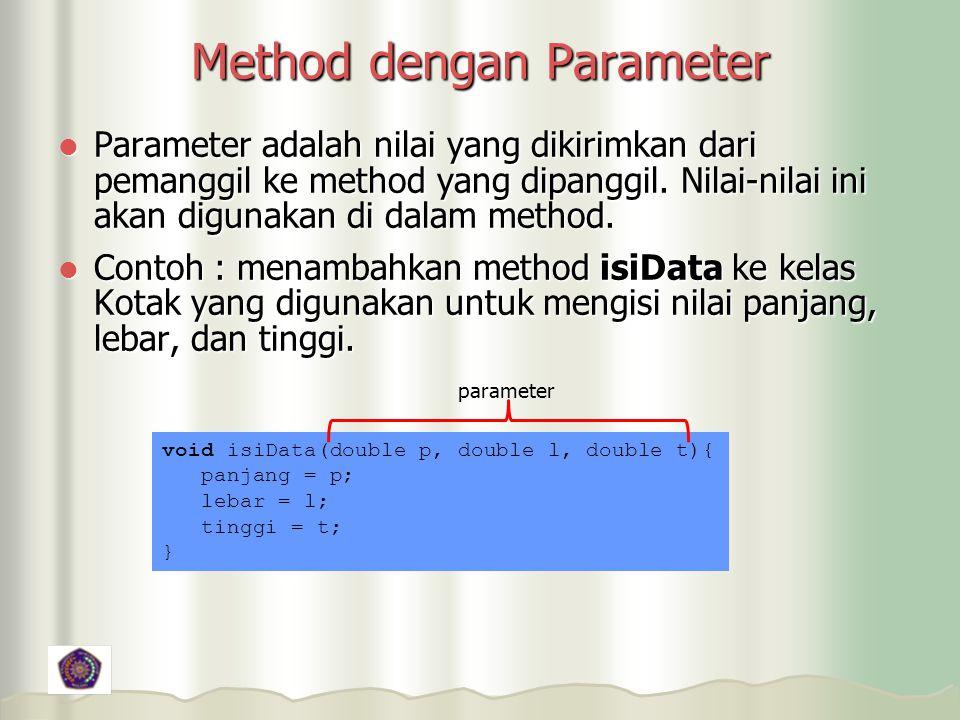 Method dengan Parameter Parameter adalah nilai yang dikirimkan dari pemanggil ke method yang dipanggil.