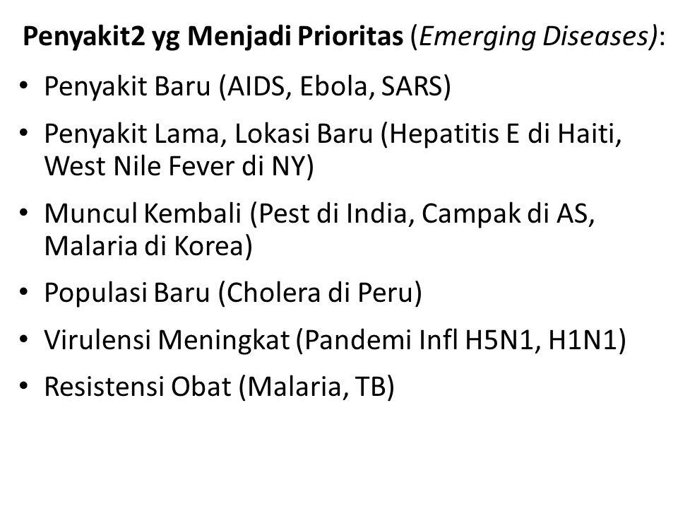 Penyakit2 yg Menjadi Prioritas (Emerging Diseases): Penyakit Baru (AIDS, Ebola, SARS) Penyakit Lama, Lokasi Baru (Hepatitis E di Haiti, West Nile Feve
