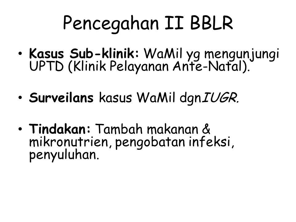 Pencegahan II BBLR Kasus Sub-klinik: WaMil yg mengunjungi UPTD (Klinik Pelayanan Ante-Natal). Surveilans kasus WaMil dgnIUGR. Tindakan: Tambah makanan