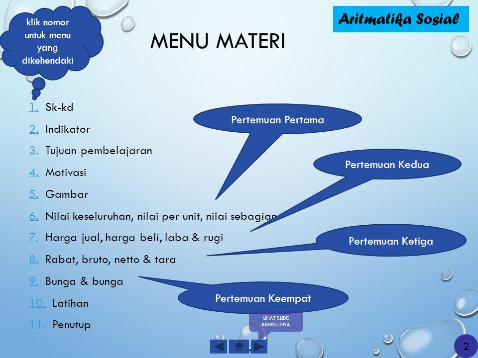 MENU MATERI 1.1. Sk-kd 2.2. Indikator 3.3. Tujuan pembelajaran 4.4. Motivasi 5.5. Gambar 6.6. Nilai keseluruhan, nilai per unit, nilai sebagian 7.7. H