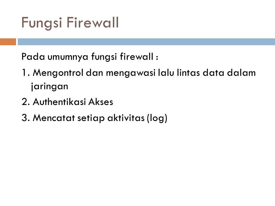 Fungsi Firewall Pada umumnya fungsi firewall : 1.