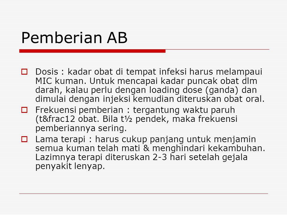 Pemberian AB  Dosis : kadar obat di tempat infeksi harus melampaui MIC kuman. Untuk mencapai kadar puncak obat dlm darah, kalau perlu dengan loading