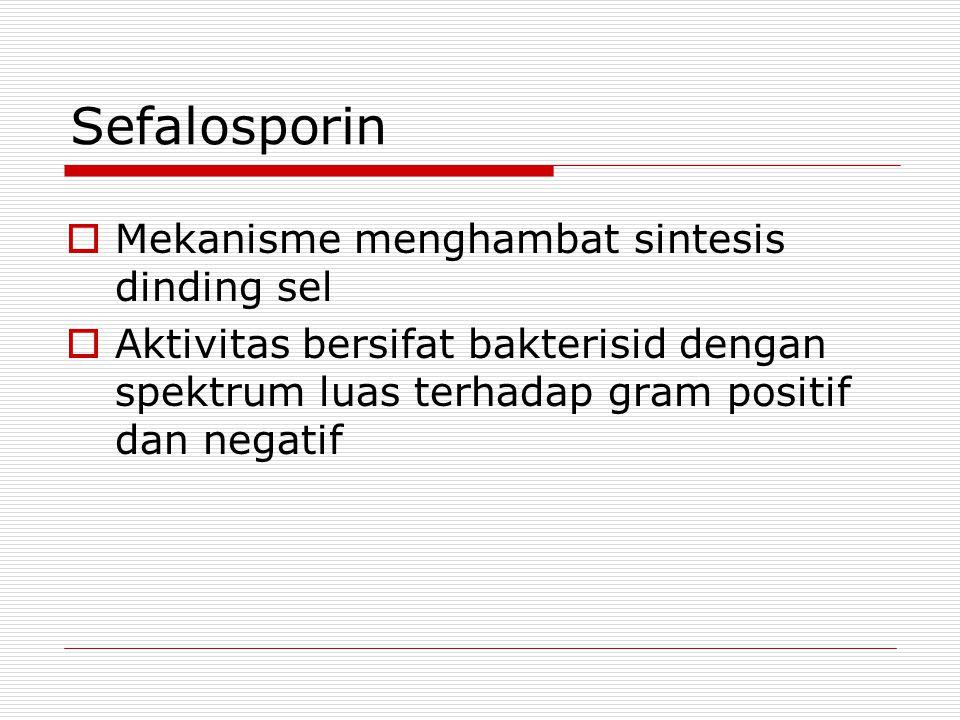 Sefalosporin  Mekanisme menghambat sintesis dinding sel  Aktivitas bersifat bakterisid dengan spektrum luas terhadap gram positif dan negatif