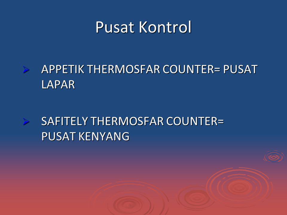 Pusat Kontrol  APPETIK THERMOSFAR COUNTER= PUSAT LAPAR  SAFITELY THERMOSFAR COUNTER= PUSAT KENYANG