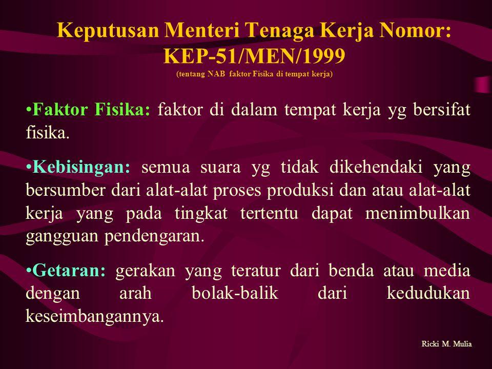 Keputusan Menteri Tenaga Kerja Nomor: KEP- 51/MEN/1999 (tentang NAB faktor Fisika di tempat kerja) Ricki M.