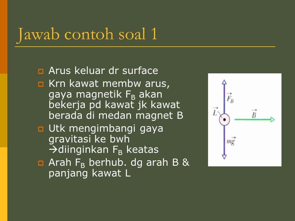 Jawab contoh soal 1  Arus keluar dr surface  Krn kawat membw arus, gaya magnetik F B akan bekerja pd kawat jk kawat berada di medan magnet B  Utk m