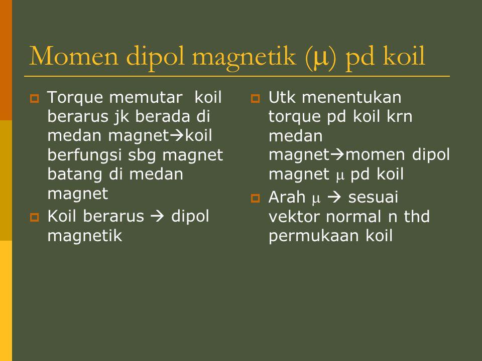 Momen dipol magnetik (  ) pd koil  Torque memutar koil berarus jk berada di medan magnet  koil berfungsi sbg magnet batang di medan magnet  Koil b